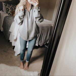 Izod Gray Boyfriend Quarter Zip Pullover